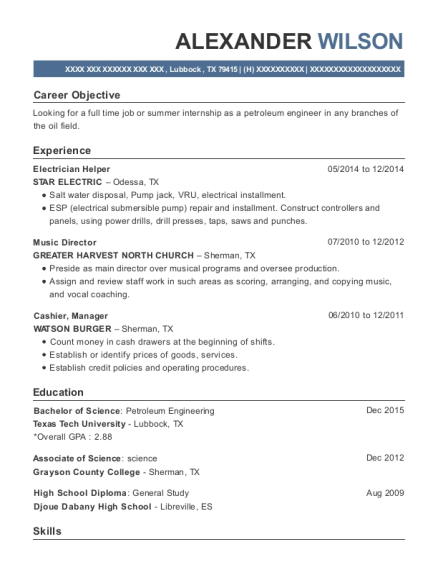 Electrician Helper resume template Texas