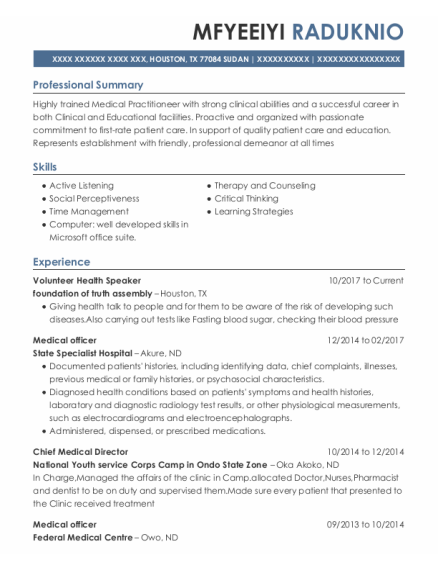 Medical Officer resume example Texas