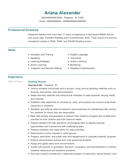 Reading Teacher resume sample Texas