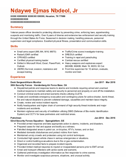 Patrolman resume template Texas