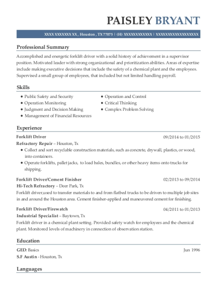 Forklift Driver resume template Texas