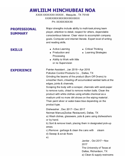 Painter Assistant resume template Texas