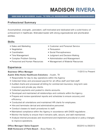 Business Office Manager resume template Texas