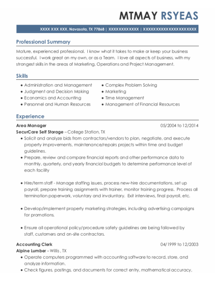 Area Manager resume template Texas