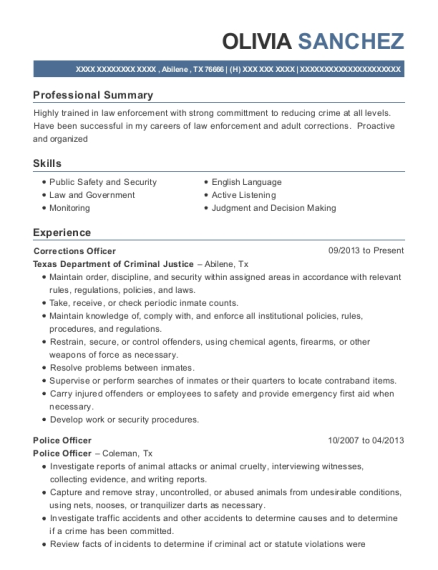 Corrections Officer resume example Texas