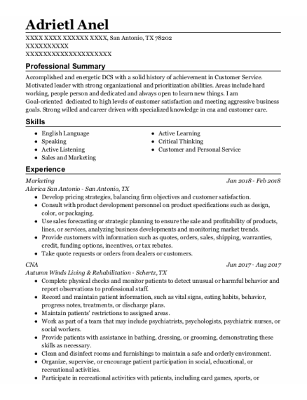 Marketing resume example Texas
