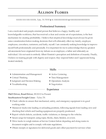 P&D Driver resume example Texas