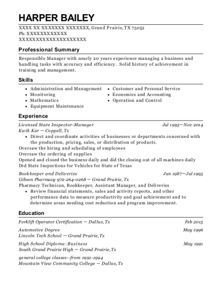 Licensed State Inspector Manager resume template Texas