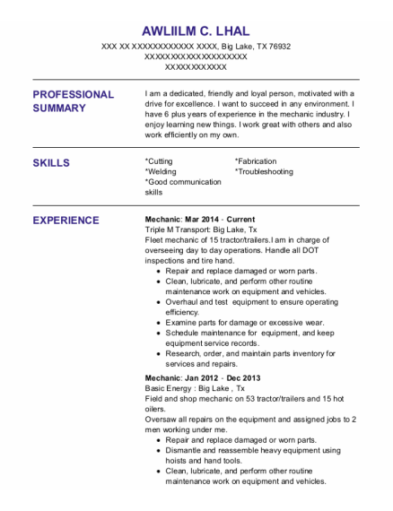 Mechanic resume format Texas
