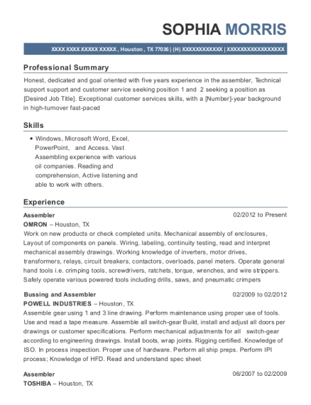 Assembler resume sample Texas