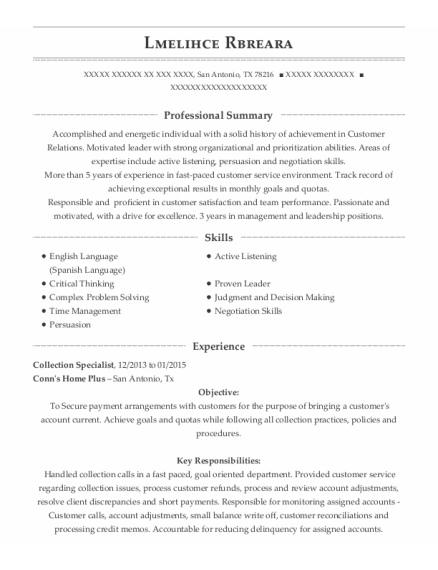 Collection Specialist resume format Texas