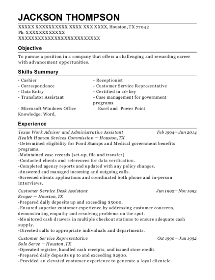 Texas Work Advisor and Administrative Assistant resume example Texas