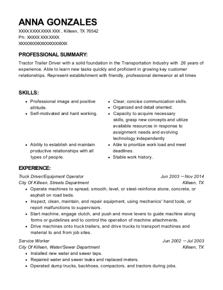 Truck Driver resume format Texas