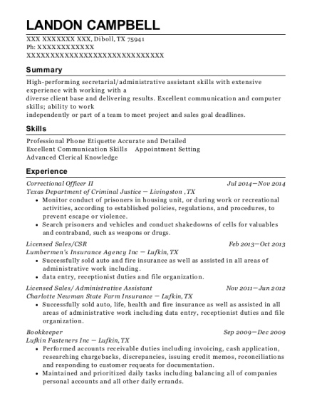 Correctional Officer II resume sample Texas