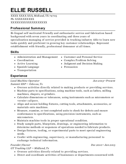 Lead Machine Operator resume template Texas