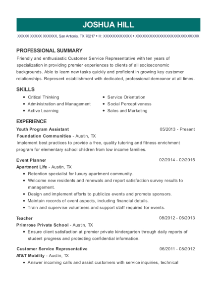 Youth Program Assistant resume template Texas