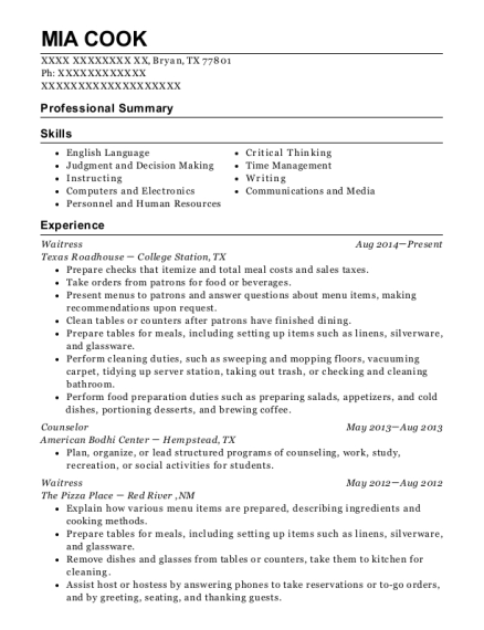 Waitress resume sample Texas