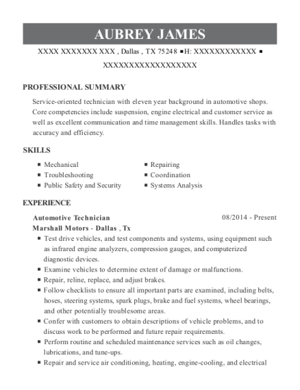 Automotive Technician resume example Texas
