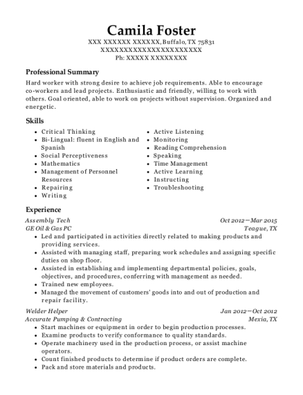Assembly Tech resume sample Texas