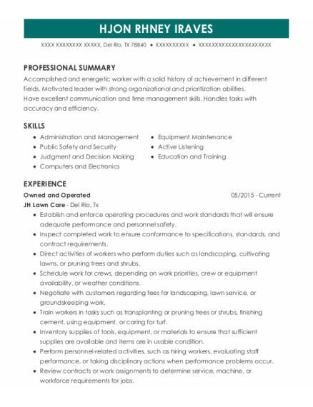 Site Lead resume example Texas