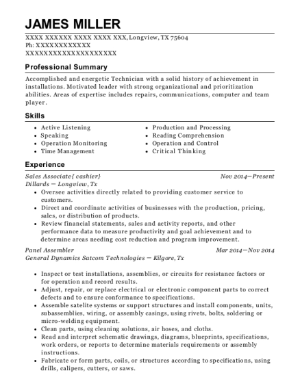 Panel Assembler resume sample Texas