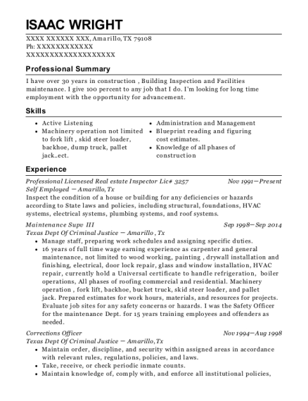 Professional Licenesed Real estate Inspector Lic 3257 resume example Texas