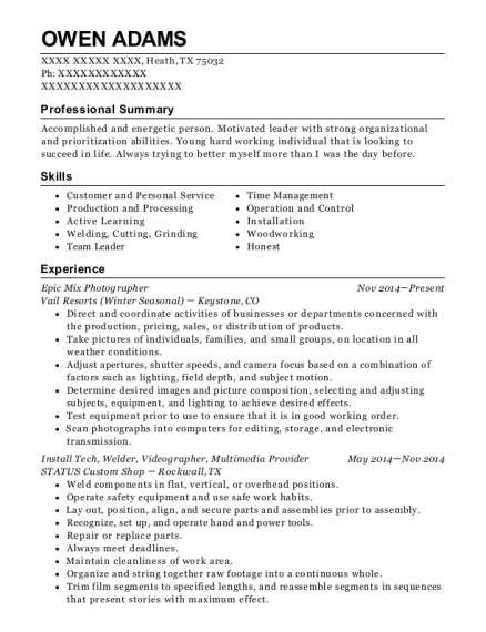 Epic Mix Photographer resume format Texas