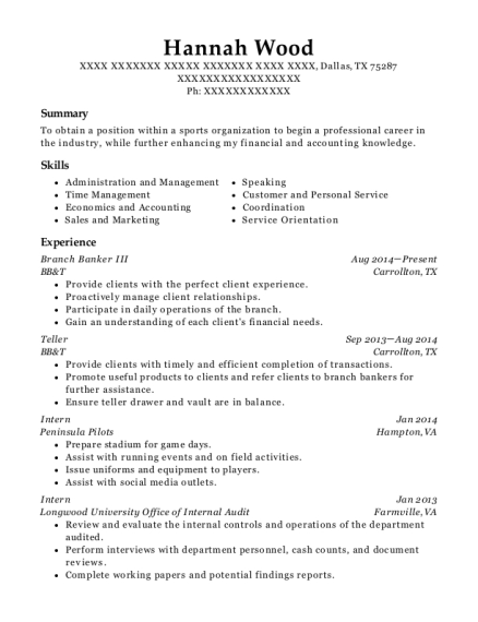 Branch Banker III resume sample Texas