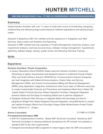 Senior Consultant resume sample Texas