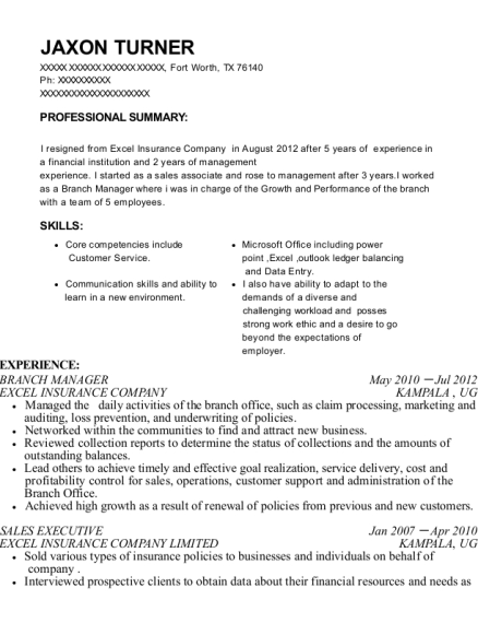 Branch Manager resume template Texas