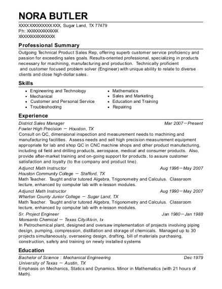 District Sales Manager resume example Texas