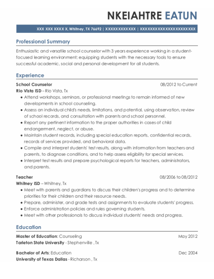 School Counselor resume format Texas