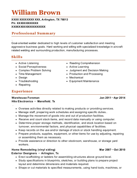 Warehouse Foreman resume template Texas