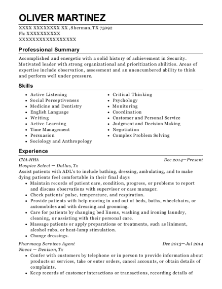 CNA HHA resume example Texas
