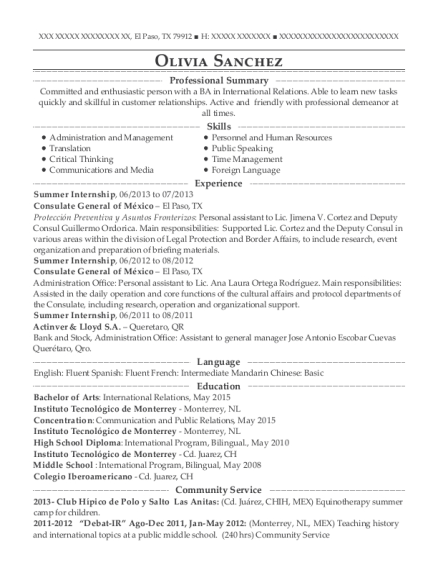 Summer Internship resume format Texas