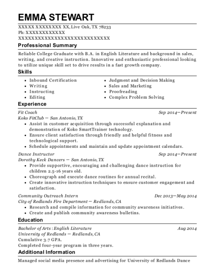 Fit Coach resume template Texas