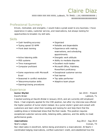Junior Stylist resume sample Texas