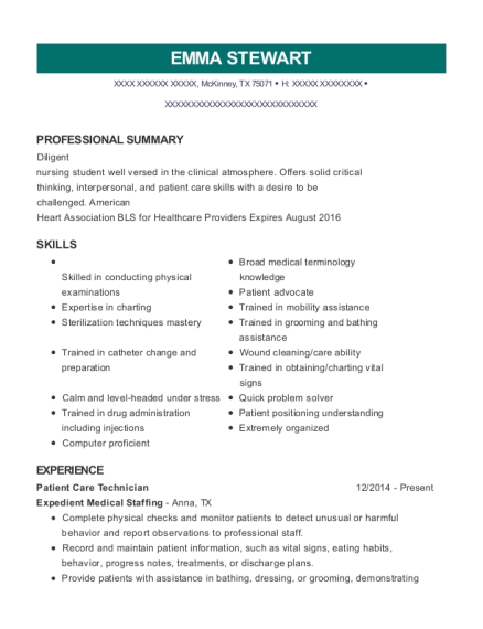 Patient Care Technician resume template Texas