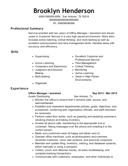 Office Manager resume sample Texas