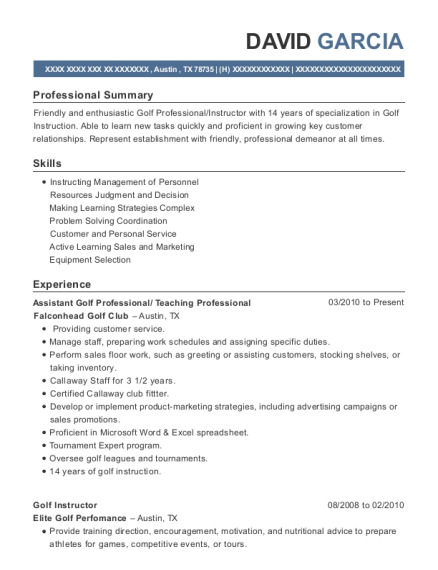 Assistant Golf Professional resume format Texas