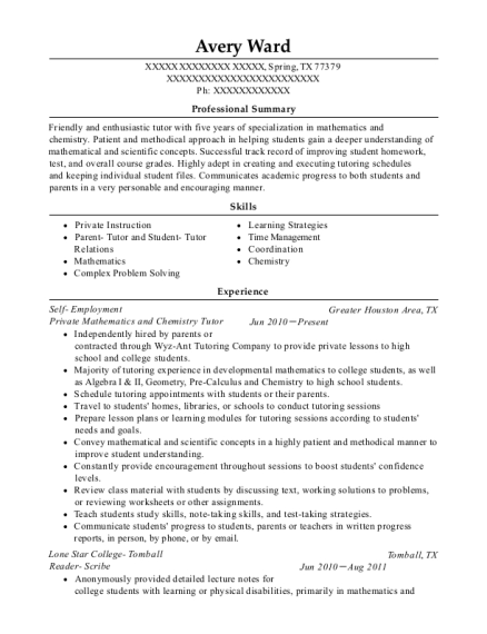 Private Mathematics and Chemistry Tutor resume template Texas