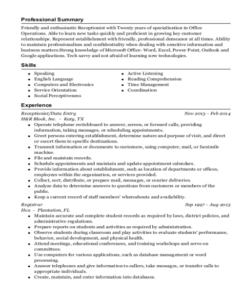Receptionist resume format Texas