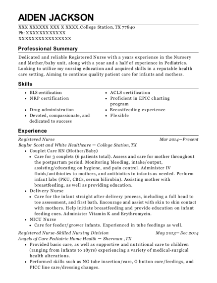 Registered Nurse resume template Texas
