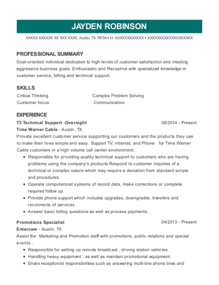 T3 Technical Support Overnight resume format Texas
