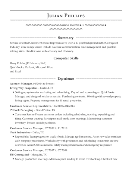 Account Manager resume template Texas