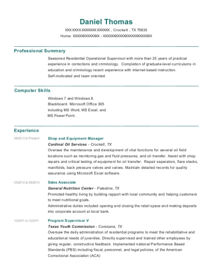 Shop and Equipment Manager resume template Texas