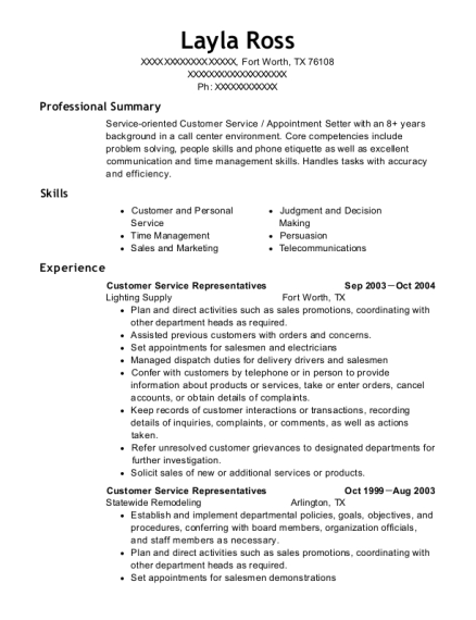 Customer Service Representatives resume sample Texas