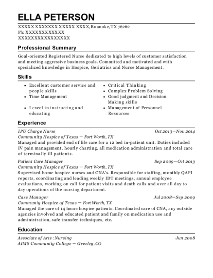 IPU Charge Nurse resume format Texas