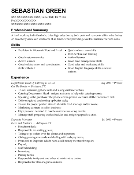 Department Head Of Catering & To Go resume sample Texas