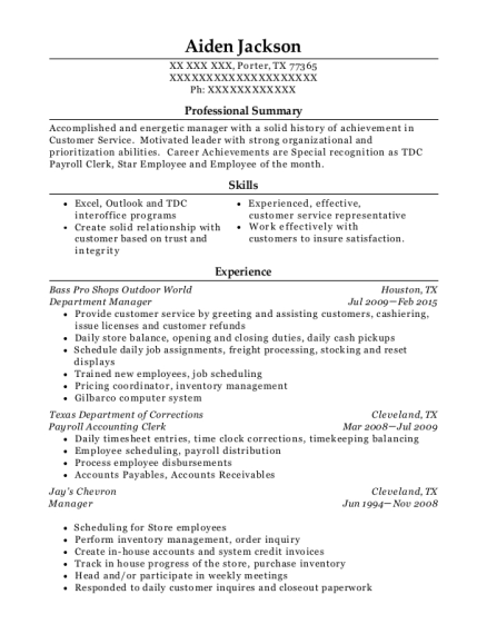 Department Manager resume sample Texas